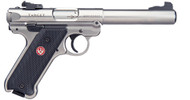"This is a Ruger Mark IV ""Target"" .22 lr, stainless steel."