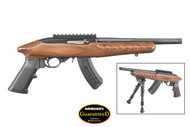 This is a Ruger Charger chambered in .22 lr, with a brown laminate stock. Accepts all Ruger branded 10/22 magazines.