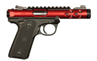 This is a Ruger Mark IV 22/45 Lite .22 lr, with a red anodized finish.