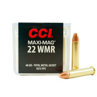 CCI MAXI-MAG .22 magnum 40 Grain Total Metal Jacket, has 50 rounds per box, manufactured by CCI.