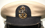 "Bancroft Naval Dress Cap- Tan- ""USN"" Anchor Service Badge"