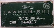 Speer LE Lawman RHT .357 Sig Frangible Training Ammo 50 Rounds/ Box