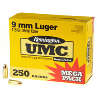 Remington UMC 9MM 115 Grain Brass MC 250 Rounds/ Box Ammo