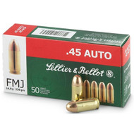 Sellier & Bellot 45 ACP/Auto FMJ 230 Gr. Ammo 50 Rounds/ Box
