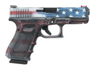 This is a Glock 19 9mm, Gen 4, with the a special Battleworn United State Flag Theme cerakote.