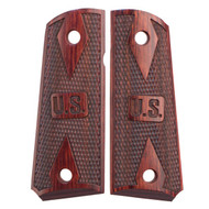 This is a pair of 1911 grips for the Officer's (Compact) 1911 frame (Colt and many other ambidextrous cut 1911 clones). Made in the double diamond checkered design, these rosewood grips come with the U.S. marking for a original look and feel.