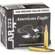 Federal American Eagle .223 55 Grain FMJ, the value pack has 100 rounds per box, manufactured by Federal.