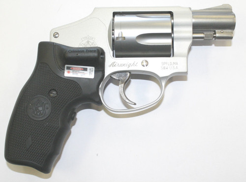 This is a used Smith & Wesson 642-2 chambered in 38 special and has crimson trace grips.
