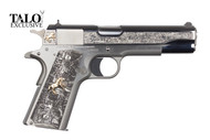 This is a Colt 1911 chambered in .38 super. exclusive Talo edition called the Aztec Jaguar Warrior.  1 of ONLY 300