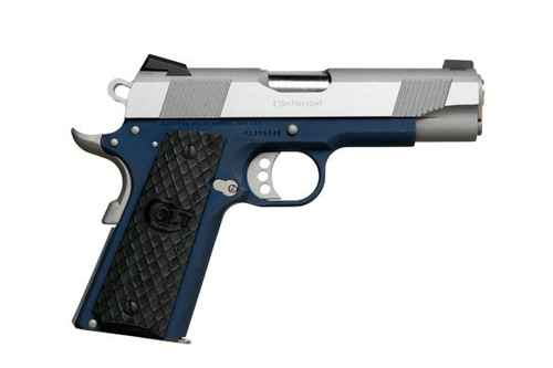This is a 1911 Colt Lightweight Commander, series 80, chambered in .45 acp. This model has a blue cerakote frame and comes with (2) 7 round magazines.
