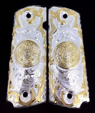 Bright silver and gold 1911 grips