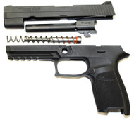 Used Sig Sauer P250 full size grip module with a complete 9mm slide assembly. (Barrel, guide rod and recoil spring)  Does not come with magazine.