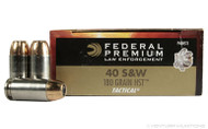 Federal 40 s&w 180Grain Jacketed Hollow Point, HST bullet design, has 50 rounds per box, manufactured by Federal.