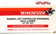 Winchester Ranger SXT Controlled Expansion 147 Gr. Law Enforcement Ammunition.
