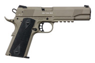 This is a Colt 1911 Rail Gun, Government Tribute, chambered in 22 LR. Comes in the popular FDE Finish. Firearm manufactured by Walther under Colt trademark.