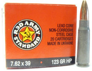 Red Army Standard 7.62 x 39mm 123 Grain HP 20 Rounds/ Box Ammo