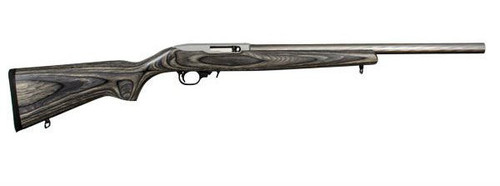 "This is a Ruger 10/22 with a black laminate stock and 20"" heavy barrel with a spiral finish"