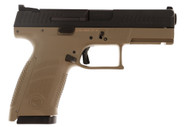 This is a CZ P10 compact pistol chambered in 9mm with a FDE finish.