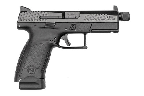 This is a CZ P10 compact pistol chambered in 9mm with a black finish, raised night sights and a threaded barrel.