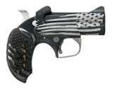 Bond Arms derringer chambered is .45 long colt or 410 gauge. Old Glory has a black cerakote Flag.