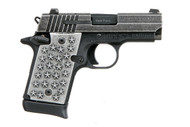 """Sig Sauer P938 9mm. This is a special edition """"We The People"""" that comes with custom aluminum grips embossed with 50 stars. Comes with (1) - 7 rd magazines."""