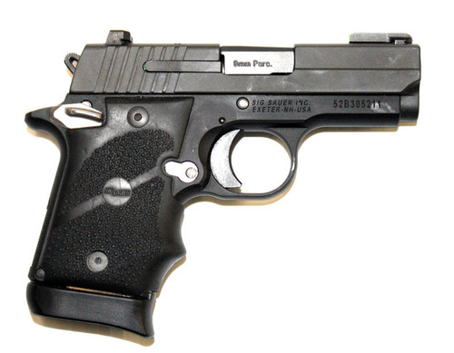 Sig Sauer P938 9mm. This model has tritium rear night sights and a green fiber optic front sight. Comes with (1)-7 round and (1)-6 round magazines