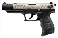 Walther P22 .22lr pistol, with a Satin Nickel / black finish. With Muzzle Break