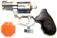 Colt Cobra is in 38 Special and can handle the +P loads. Custom NRA wood grips with an engraved Cobra with a stainless steel finish topped of with a Fiber Optic front sight.