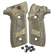 Sig Sauer grips for the P229. Made from G10 (Gmascus) these factory grips feature a Green (and black) color with a Piranha texture