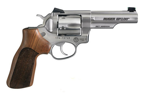 Ruger GP100 Match Champion chambered in .357 magnum. Custom Hogue Stippled Hardwood Grips.