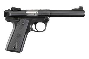 "Ruger Mark IV 22/45 .22 lr, with a 5.5"" bull barrel"