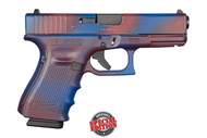 Glock 19 9mm, Gen 4, with a cerakote Battleworn Red/Blue finish. Comes with (3) - 15 round magazines. Special Edition Glock from Davidson's.