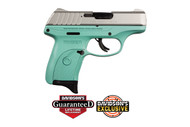 Ruger EC9s chambered in 9mm with a Turquoise Cerakote Frame and  stainless slide
