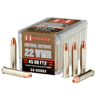 Hornady Critical Defense .22 WMR 45 Grain FTX, has 25 rounds per box, manufactured by Hornady.