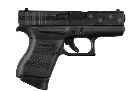 Glock 43 9mm, with a Black Gray USA Flag frame. Comes with (2)-6 round magazines. This pistol comes with one flat magazine and one that is equipped with a finger rest.