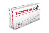 new box of Winchester ammunition in the 40 s&w caliber, 165 grain FMJ bullets and come 100 rounds per box.