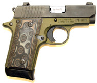 Used Sig Sauer P238 .380 acp. This is a special edition by TALO that comes with SIGLITE (night sights) and a army green cerakote frame