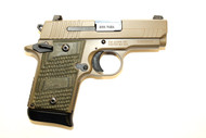 This is a Sig Sauer P938 9mm, Scorpion. This firearm is pre-owned in excellent condition, virtually no outside wear on the firearm and little sign of use on the internals. This model has tritium night sights and G10 Piranha grips. Comes with everything a new one would come with; (1)-7 round and (1)-6 round magazines, holster, user manual, case.
