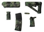 """This is a kit for any milspec AR-15. The finish on this set is known as """"Tiger Stripe"""" Camouflage. The the pieces in the set have all been finished with a coloring technique known as water transfer printing (also known as hydro-graphic printing)."""