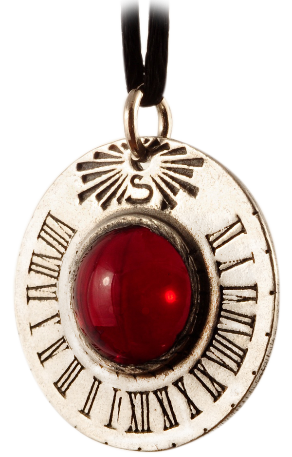 Saturn Sundial Pendant Jewelry - Red Stone
