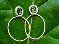 Silver Twine Hoop Earrings