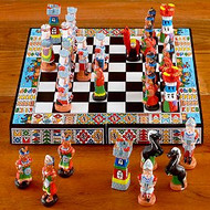 Inca's V's Spanish Chess Set