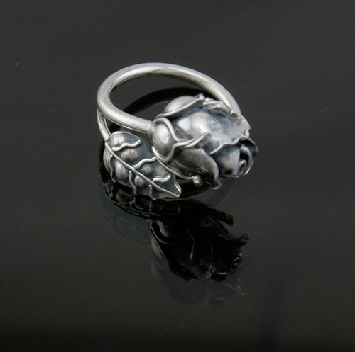 Rose Ring Handcrafted 950 Silver
