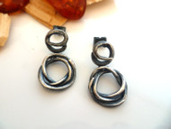Organic Oxidised Silver Earrings