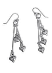 Hearts Long Drop Silver Earrings