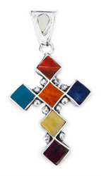 Traditional Shell and Stone Cross Pendant