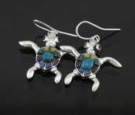 Silver & Stone/Shell Turtle Earrings