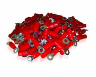 XS Power Batteries - 4 AWG Ring Terminal, Crimp, 10.5mm Screw Hole, Nickel Finish with Red Boot, 10 Pack