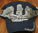 BALL CAP, LARGE SILVER DOLPHINS SUBMARINE SERVICE