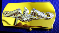 Belt Buckle, Chiefs, Silver Dolphins on Brass